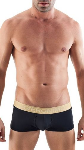 Geronimo Mens Underwear Black Low Rise Boxer Black / Gold Waistband  Hipster 1356b1